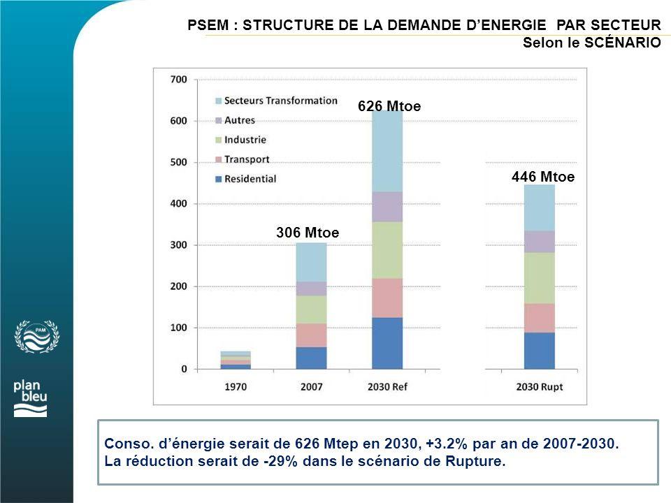 PSEM : STRUCTURE DE LA DEMANDE D'ENERGIE PAR SECTEUR Selon le SCÉNARIO Conso. d'énergie serait de 626 Mtep en 2030, +3.2% par an de 2007-2030. La rédu