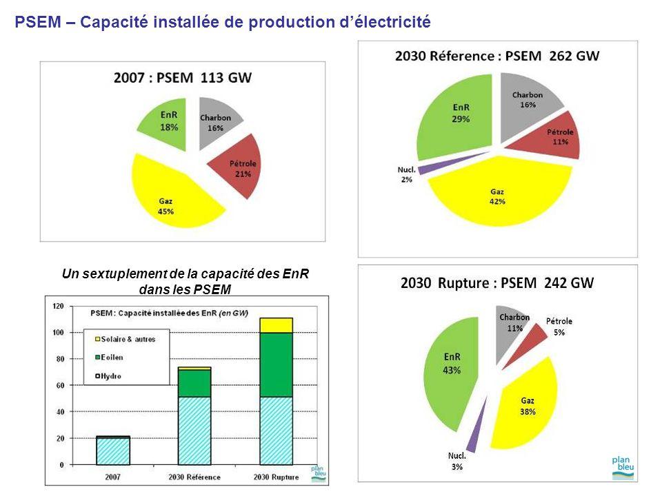 PSEM – Capacité installée de production d'électricité Un sextuplement de la capacité des EnR dans les PSEM