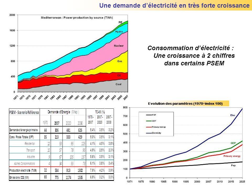 Une demande d'électricité en très forte croissance Consommation d'électricité : Une croissance à 2 chiffres dans certains PSEM Evolution des paramètre