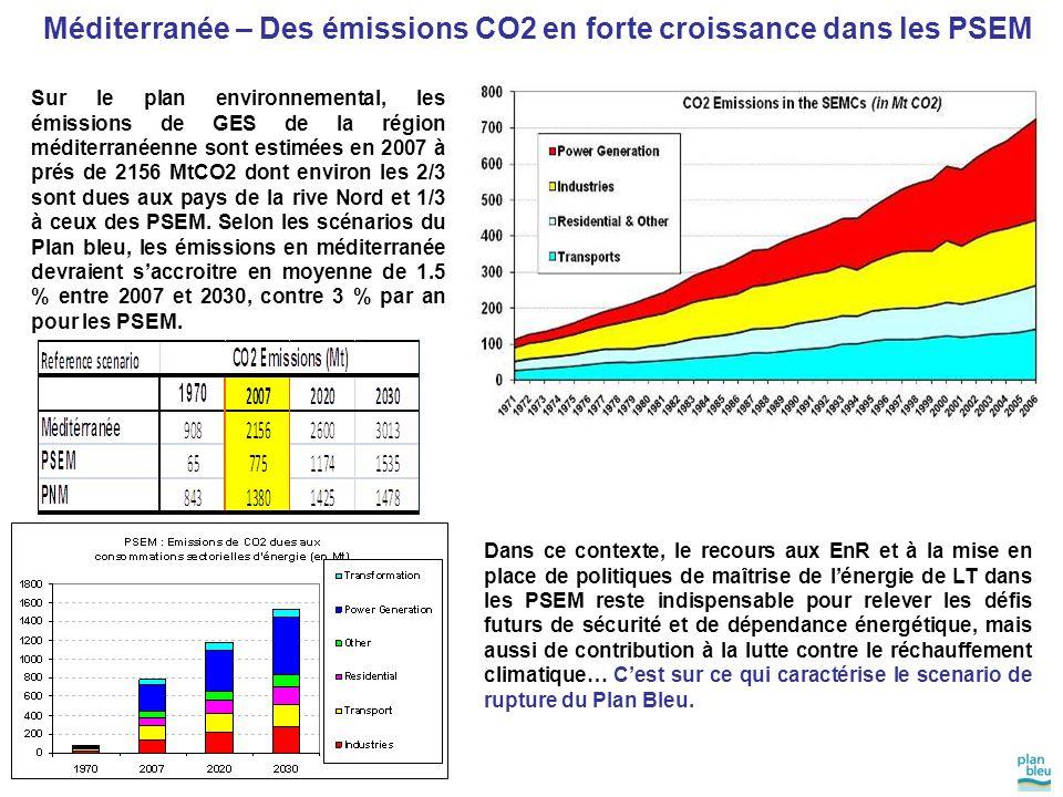 Sur le plan environnemental, les émissions de GES de la région méditerranéenne sont estimées en 2007 à prés de 2156 MtCO2 dont environ les 2/3 sont du