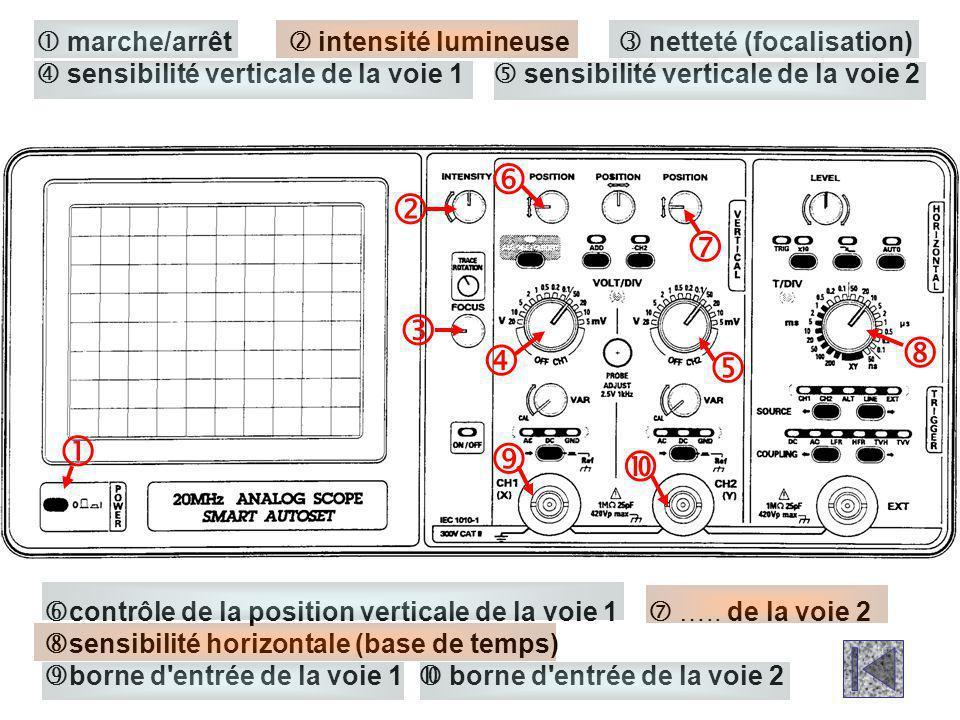  contrôle de la position verticale de la voie 1  ….. de la voie 2  sensibilité horizontale (base de temps)  borne d'entrée de la voie 1  borne d'