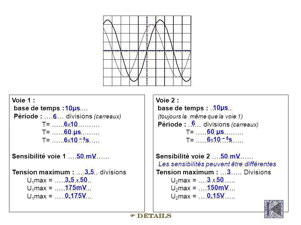 Voie 1 : base de temps : ………. Période : ……… divisions (carreaux) T= …………………. T= …………………. Sensibilité voie 1 ………………. Tension maximum : ………. divisions U
