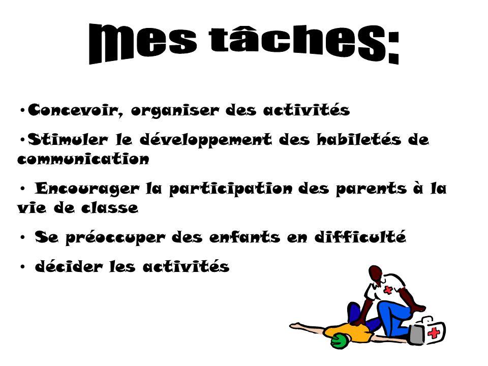Concevoir, organiser des activités Stimuler le développement des habiletés de communication Encourager la participation des parents à la vie de classe Se préoccuper des enfants en difficulté décider les activités