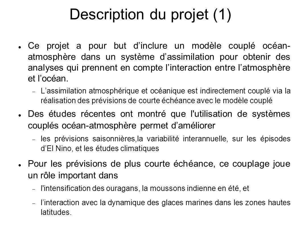 Description du projet (1) Ce projet a pour but d'inclure un modèle couplé océan- atmosphère dans un système d'assimilation pour obtenir des analyses