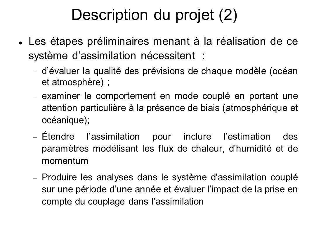 Description du projet (2) Les étapes préliminaires menant à la réalisation de ce système d'assimilation nécessitent :  d'évaluer la qualité des prév