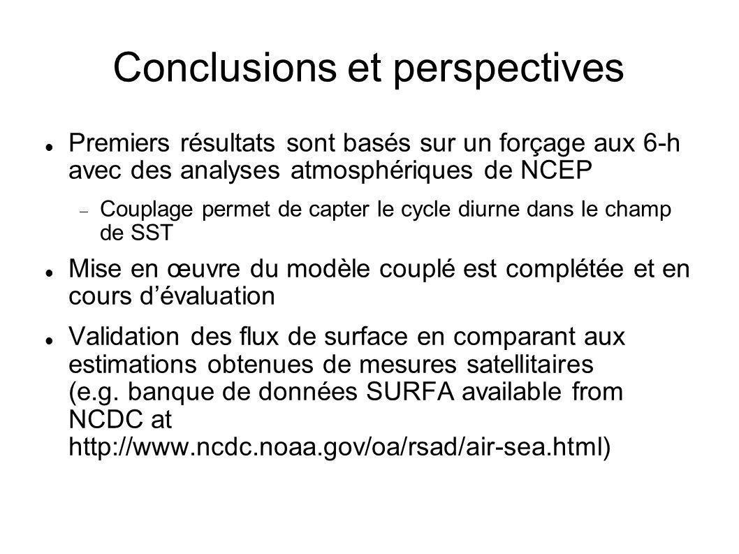 Conclusions et perspectives Premiers résultats sont basés sur un forçage aux 6-h avec des analyses atmosphériques de NCEP  Couplage permet de capter