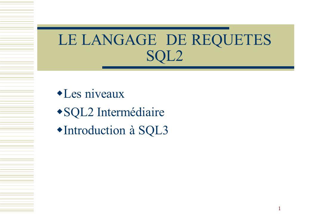 1 LE LANGAGE DE REQUETES SQL2  Les niveaux  SQL2 Intermédiaire  Introduction à SQL3