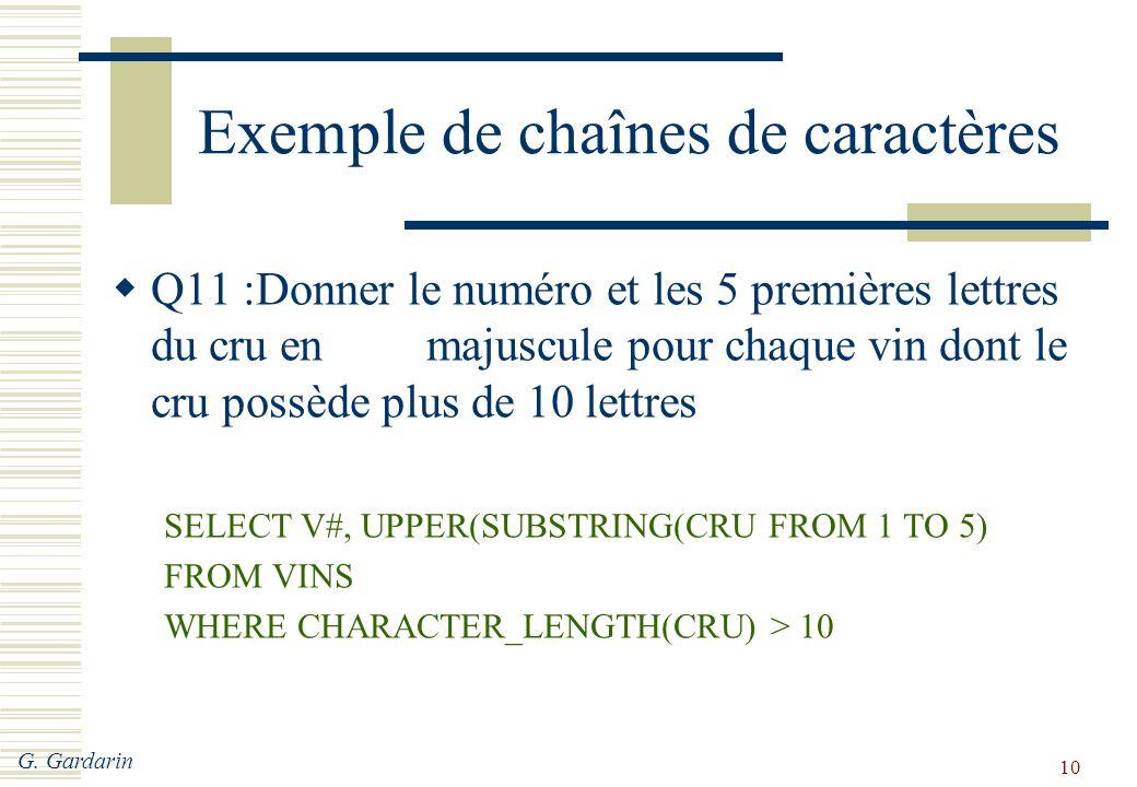 G. Gardarin 10 Exemple de chaînes de caractères  Q11 :Donner le numéro et les 5 premières lettres du cru en majuscule pour chaque vin dont le cru pos