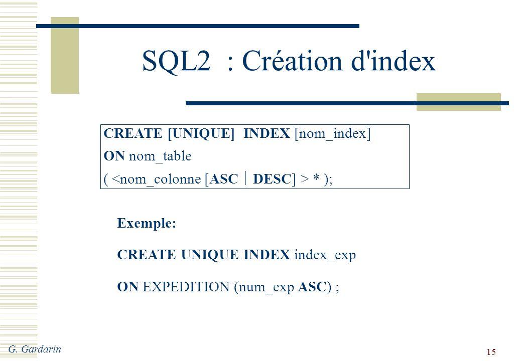 G. Gardarin 15 SQL2 : Création d'index CREATE [UNIQUE] INDEX [nom_index] ON nom_table ( * ); Exemple: CREATE UNIQUE INDEX index_exp ON EXPEDITION (num