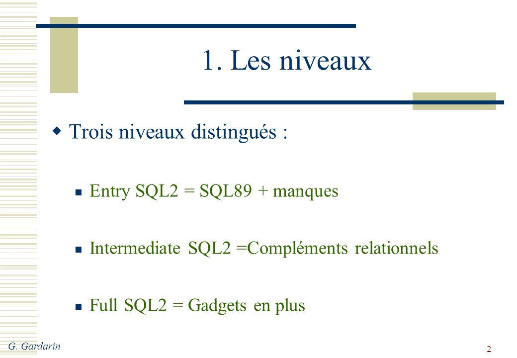 G. Gardarin 2 1. Les niveaux  Trois niveaux distingués : Entry SQL2 = SQL89 + manques Intermediate SQL2 =Compléments relationnels Full SQL2 = Gadgets