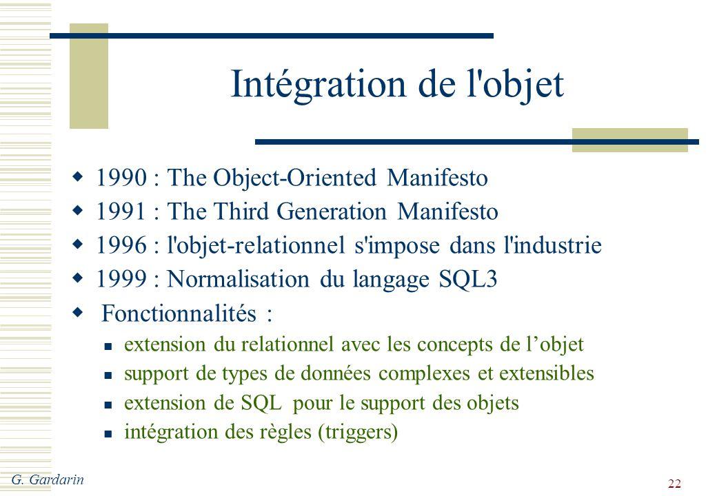 G. Gardarin 22 Intégration de l'objet  1990 : The Object-Oriented Manifesto  1991 : The Third Generation Manifesto  1996 : l'objet-relationnel s'im