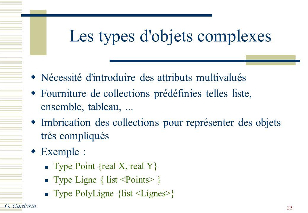 G. Gardarin 25 Les types d'objets complexes  Nécessité d'introduire des attributs multivalués  Fourniture de collections prédéfinies telles liste, e