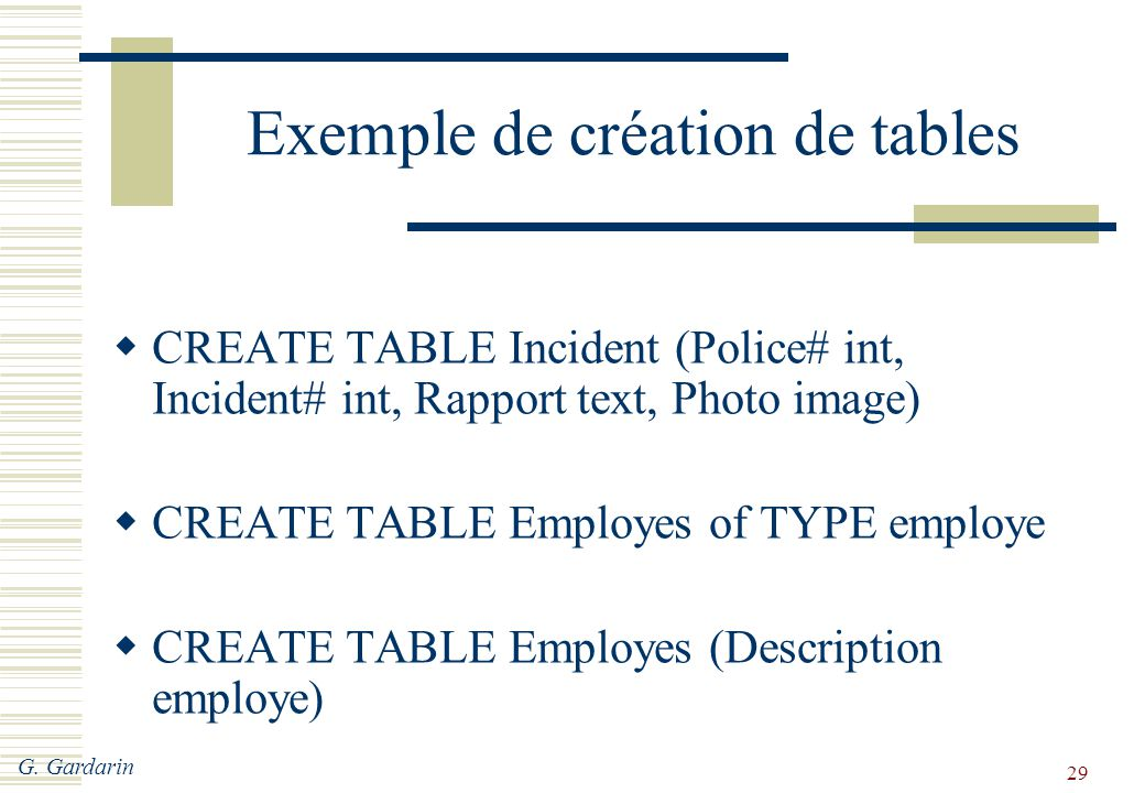 G. Gardarin 29 Exemple de création de tables  CREATE TABLE Incident (Police# int, Incident# int, Rapport text, Photo image)  CREATE TABLE Employes o
