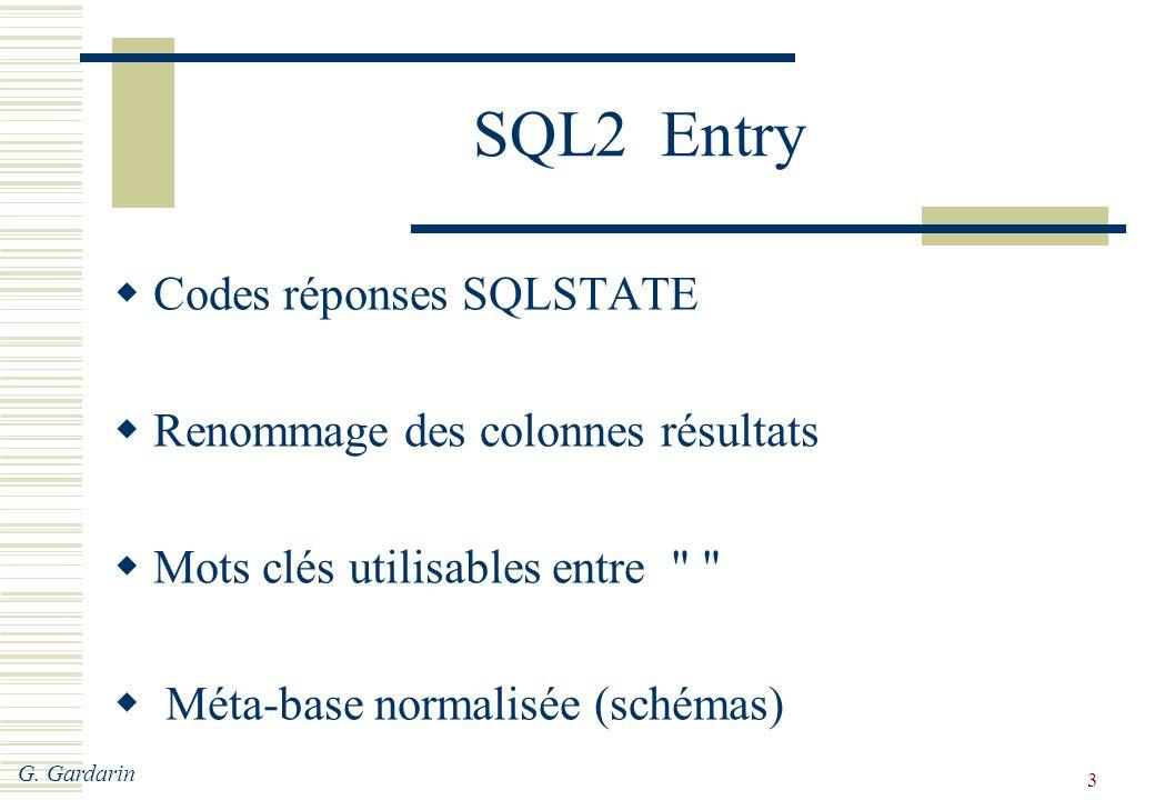 G. Gardarin 3 SQL2 Entry  Codes réponses SQLSTATE  Renommage des colonnes résultats  Mots clés utilisables entre