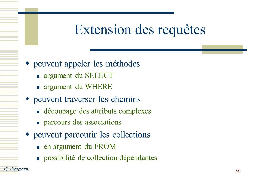 G. Gardarin 30 Extension des requêtes  peuvent appeler les méthodes argument du SELECT argument du WHERE  peuvent traverser les chemins découpage de