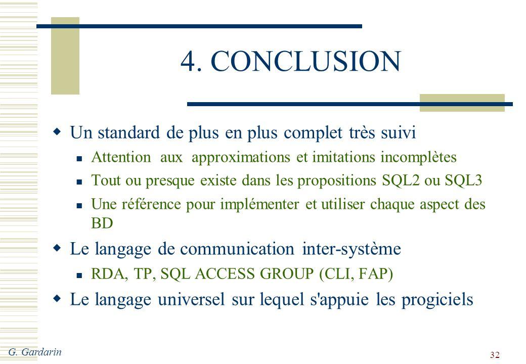 G. Gardarin 32 4. CONCLUSION  Un standard de plus en plus complet très suivi Attention aux approximations et imitations incomplètes Tout ou presque e