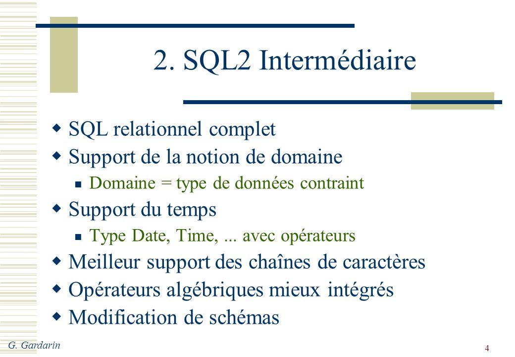 G. Gardarin 4 2. SQL2 Intermédiaire  SQL relationnel complet  Support de la notion de domaine Domaine = type de données contraint  Support du temps