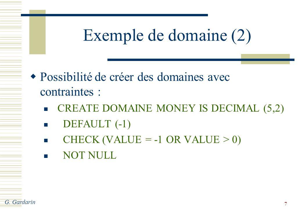 G. Gardarin 7 Exemple de domaine (2)  Possibilité de créer des domaines avec contraintes : CREATE DOMAINE MONEY IS DECIMAL (5,2) DEFAULT (-1) CHECK (