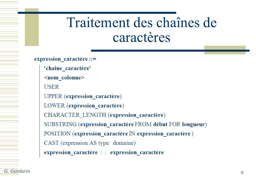 G. Gardarin 9 Traitement des chaînes de caractères expression_caractère ::= 'chaîne_caractère' USER UPPER (expression_caractère) LOWER (expression_car