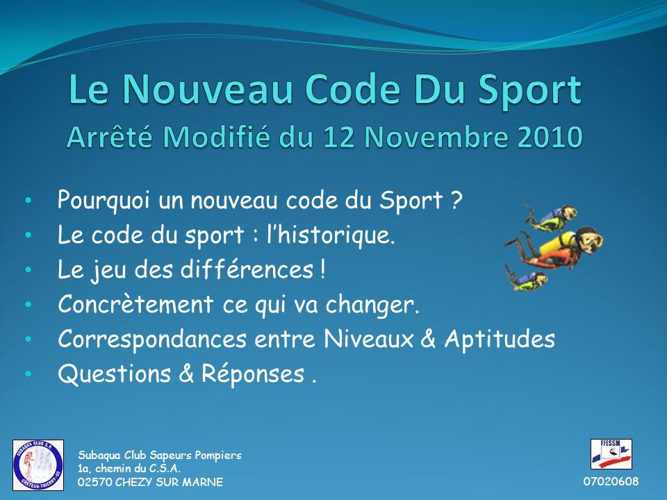 Pourquoi un nouveau code du Sport . Le code du sport : l'historique.