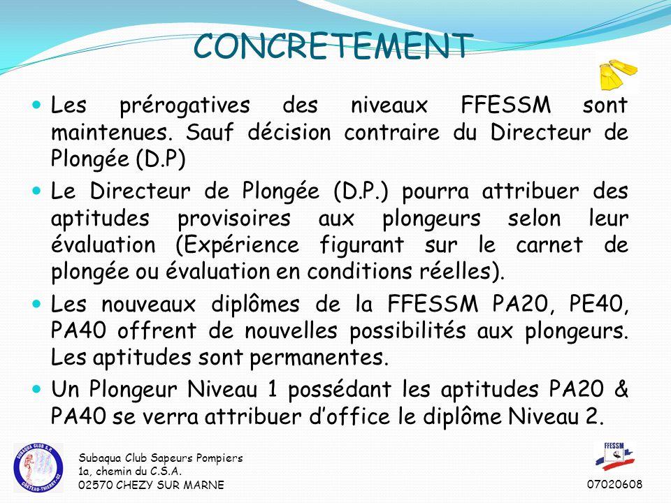 Les prérogatives des niveaux FFESSM sont maintenues.