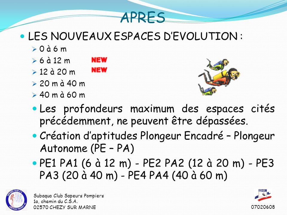 APRES LES NOUVEAUX ESPACES D'EVOLUTION :  0 à 6 m  6 à 12 m  12 à 20 m  20 m à 40 m  40 m à 60 m Les profondeurs maximum des espaces cités précédemment, ne peuvent être dépassées.