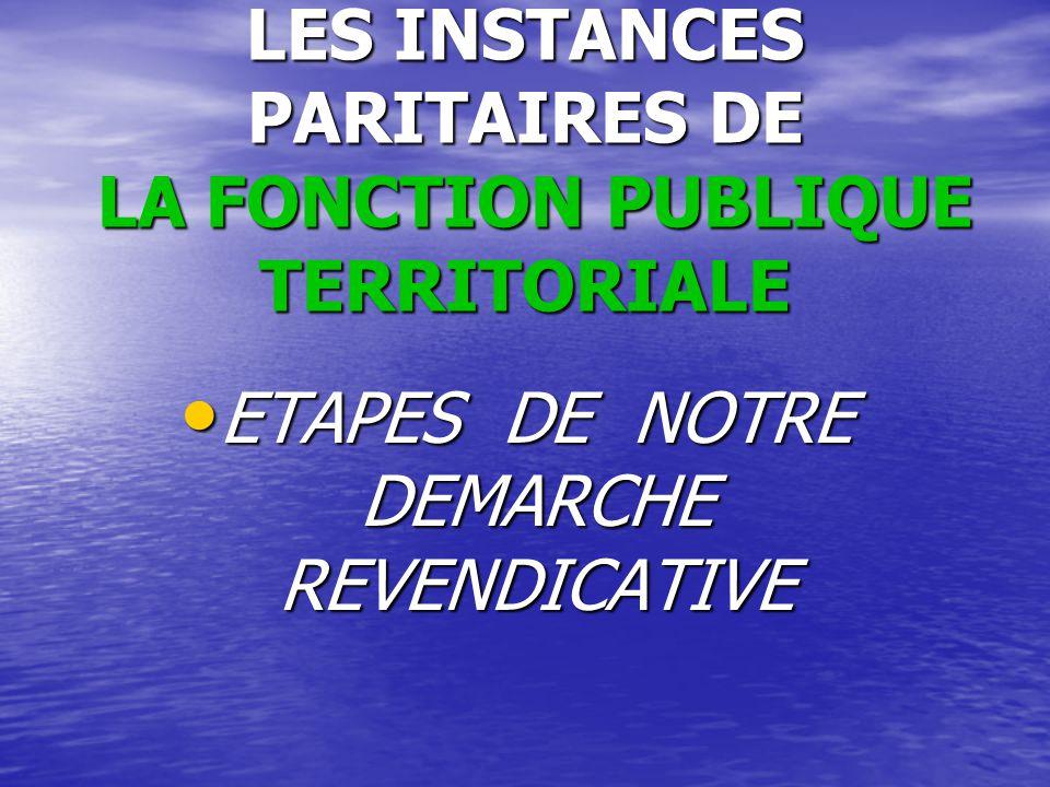 LES INSTANCES PARITAIRES DE LA FONCTION PUBLIQUE TERRITORIALE ETAPES DE NOTRE DEMARCHE REVENDICATIVE ETAPES DE NOTRE DEMARCHE REVENDICATIVE