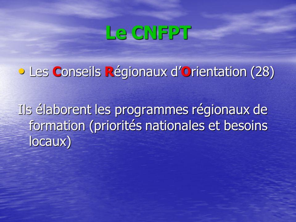 Le CNFPT Les Conseils Régionaux d'Orientation (28) Les Conseils Régionaux d'Orientation (28) Ils élaborent les programmes régionaux de formation (prio