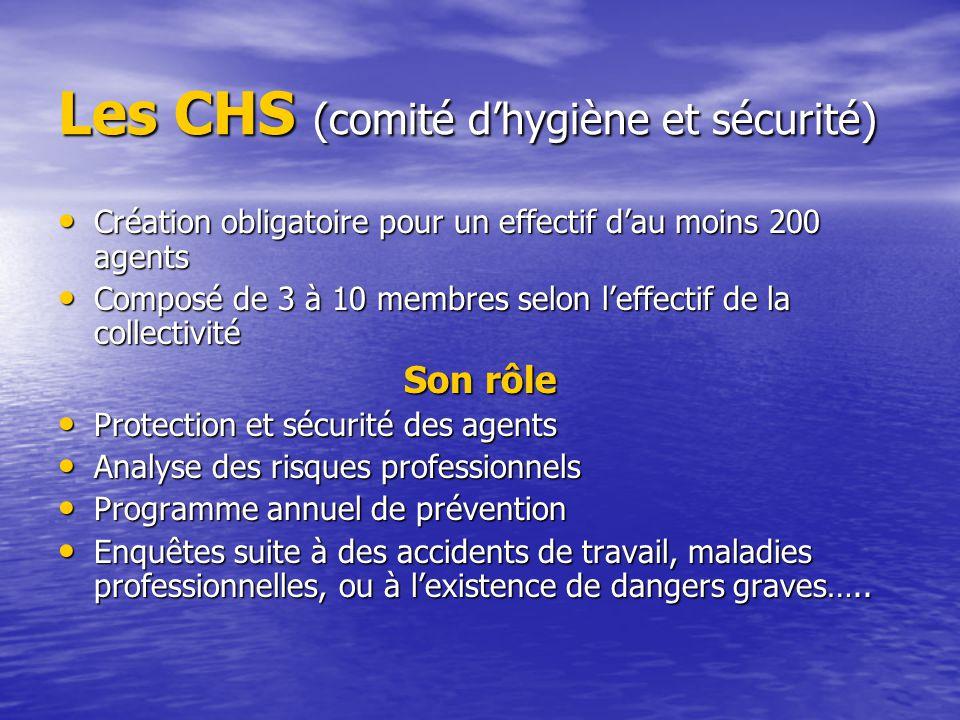 Les CHS (comité d'hygiène et sécurité) Création obligatoire pour un effectif d'au moins 200 agents Création obligatoire pour un effectif d'au moins 20