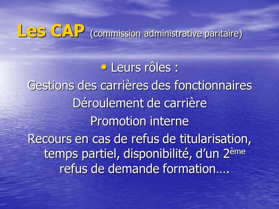 Les CAP (commission administrative paritaire) Leurs rôles : Leurs rôles : Gestions des carrières des fonctionnaires Déroulement de carrière Promotion