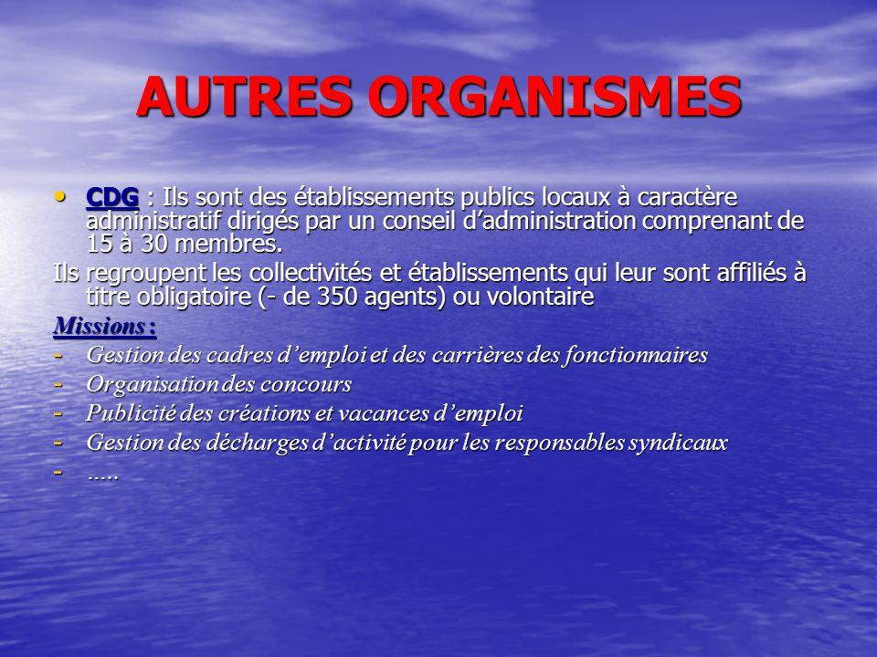 AUTRES ORGANISMES CDG : Ils sont des établissements publics locaux à caractère administratif dirigés par un conseil d'administration comprenant de 15