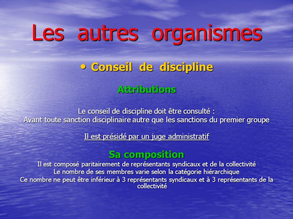 Les autres organismes Conseil de discipline Conseil de disciplineAttributions Le conseil de discipline doit être consulté : Avant toute sanction disci