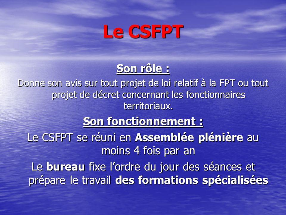 Le CSFPT Son rôle : Donne son avis sur tout projet de loi relatif à la FPT ou tout projet de décret concernant les fonctionnaires territoriaux. Son fo