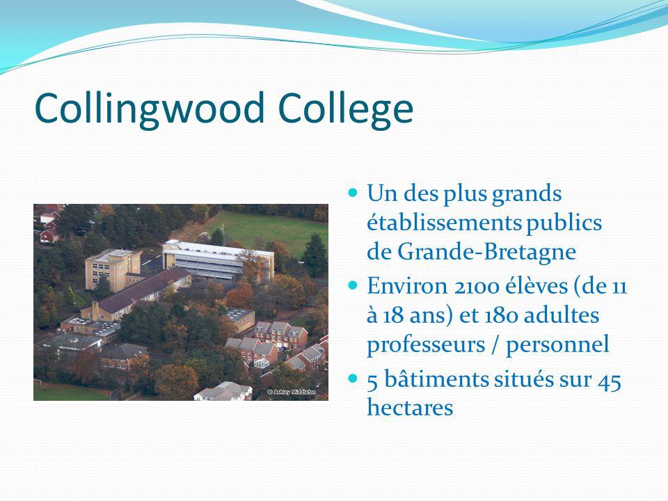 Collingwood College Un des plus grands établissements publics de Grande-Bretagne Environ 2100 élèves (de 11 à 18 ans) et 180 adultes professeurs / personnel 5 bâtiments situés sur 45 hectares