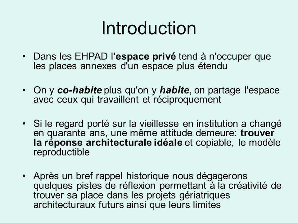 Introduction Dans les EHPAD l'espace privé tend à n'occuper que les places annexes d'un espace plus étendu On y co-habite plus qu'on y habite, on part