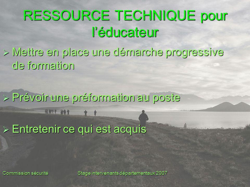 Commission sécuritéStage intervenants départementaux 2007 RESSOURCE TECHNIQUE pour l'éducateur  Mettre en place une démarche progressive de formation