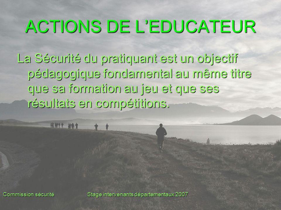 Commission sécuritéStage intervenants départementaux 2007 ACTIONS DE L'EDUCATEUR La Sécurité du pratiquant est un objectif pédagogique fondamental au