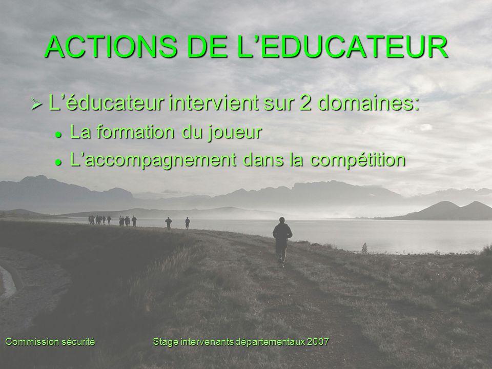 Commission sécuritéStage intervenants départementaux 2007 ACTIONS DE L'EDUCATEUR  L'éducateur intervient sur 2 domaines: La formation du joueur La fo