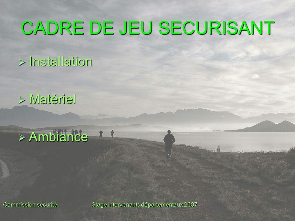 Commission sécuritéStage intervenants départementaux 2007 CADRE DE JEU SECURISANT  Installation  Matériel  Ambiance