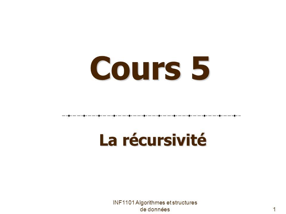 INF1101 Algorithmes et structures de données1 Cours 5 La récursivité