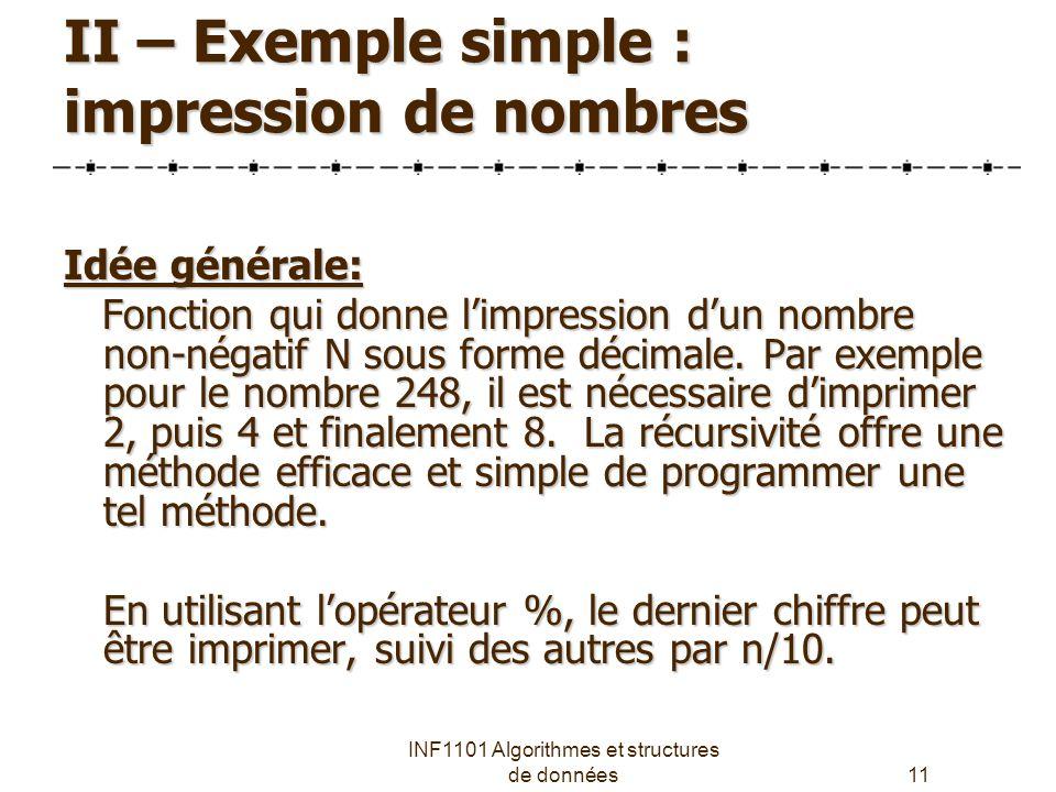 INF1101 Algorithmes et structures de données11 II – Exemple simple : impression de nombres Idée générale: Fonction qui donne l'impression d'un nombre non-négatif N sous forme décimale.