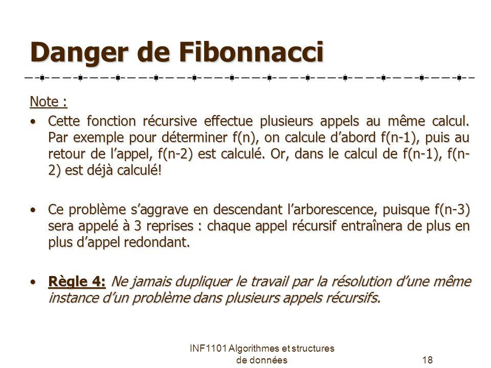 INF1101 Algorithmes et structures de données18 Danger de Fibonnacci Note : Cette fonction récursive effectue plusieurs appels au même calcul.