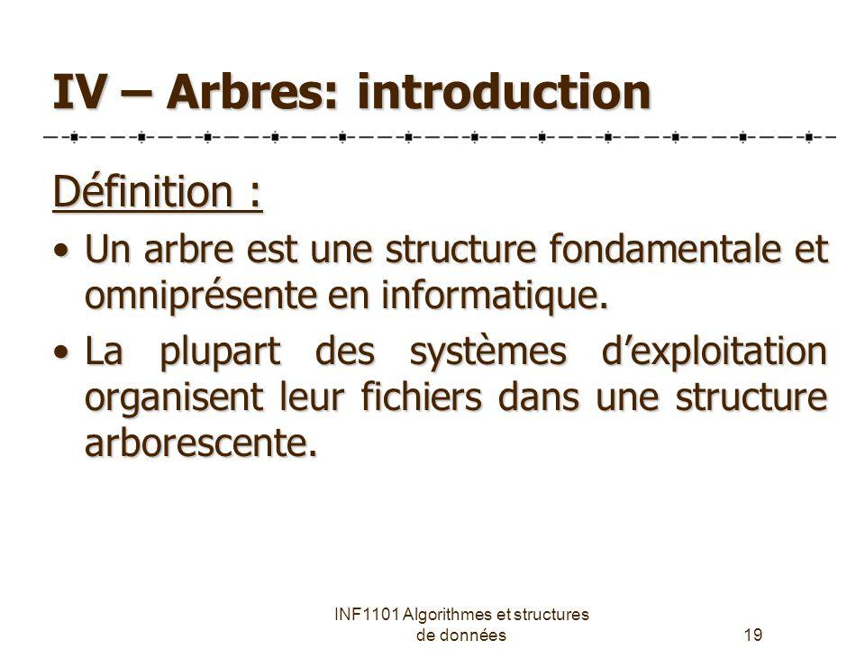INF1101 Algorithmes et structures de données19 IV – Arbres: introduction Définition : Un arbre est une structure fondamentale et omniprésente en informatique.Un arbre est une structure fondamentale et omniprésente en informatique.