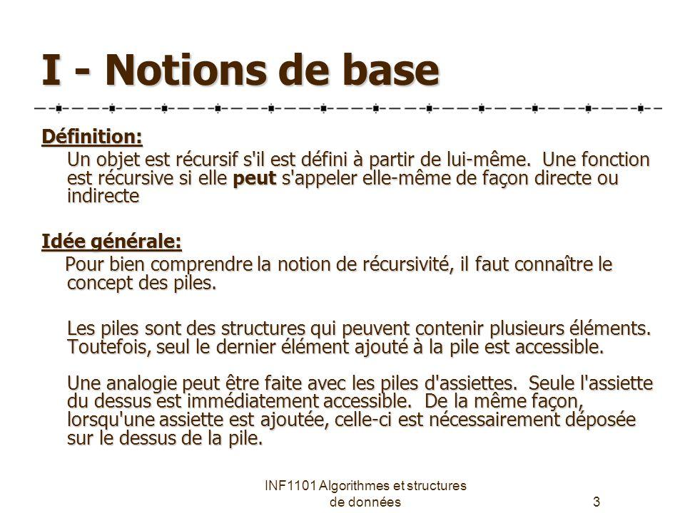 INF1101 Algorithmes et structures de données3 I - Notions de base Définition: Un objet est récursif s il est défini à partir de lui-même.