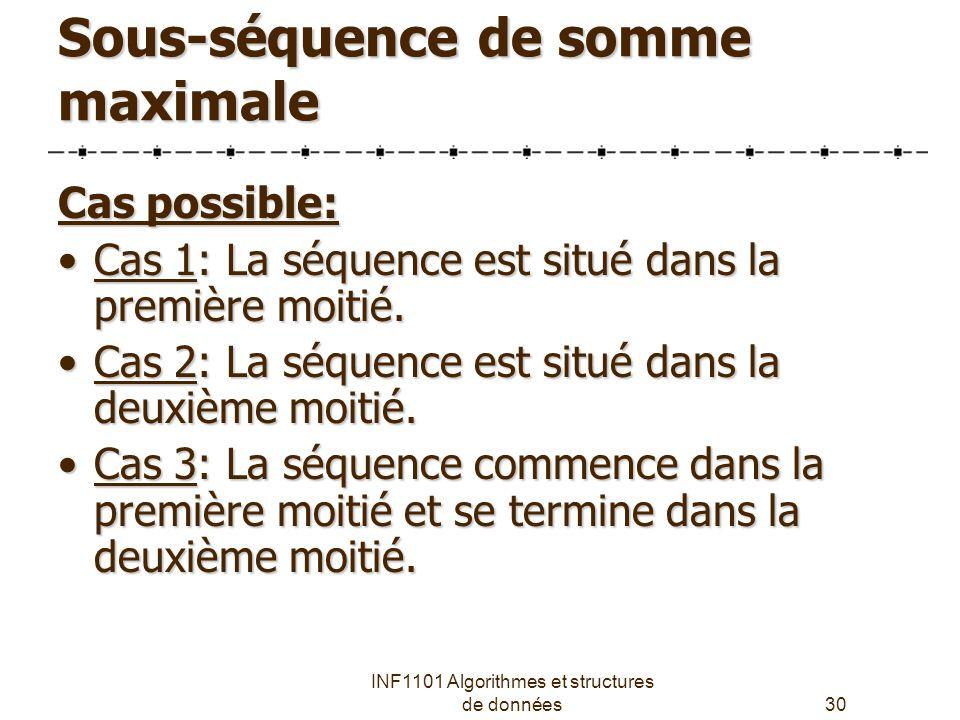 INF1101 Algorithmes et structures de données30 Sous-séquence de somme maximale Cas possible: Cas 1: La séquence est situé dans la première moitié.Cas 1: La séquence est situé dans la première moitié.