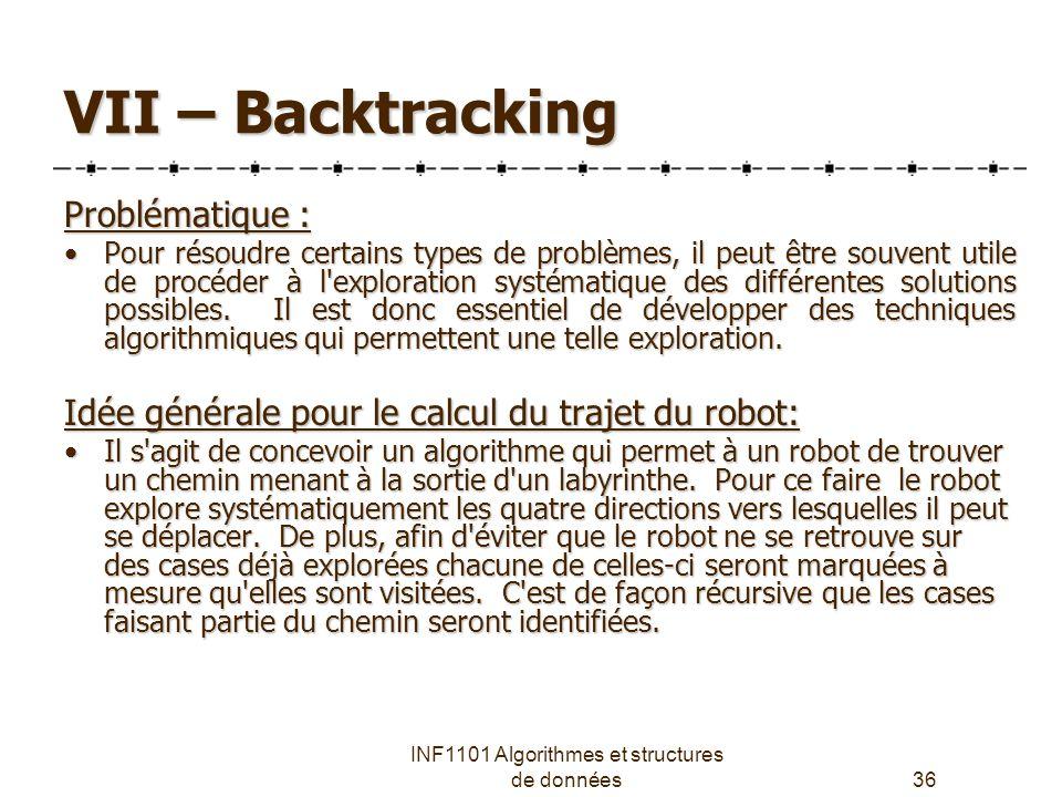 INF1101 Algorithmes et structures de données36 VII – Backtracking Problématique : Pour résoudre certains types de problèmes, il peut être souvent utile de procéder à l exploration systématique des différentes solutions possibles.