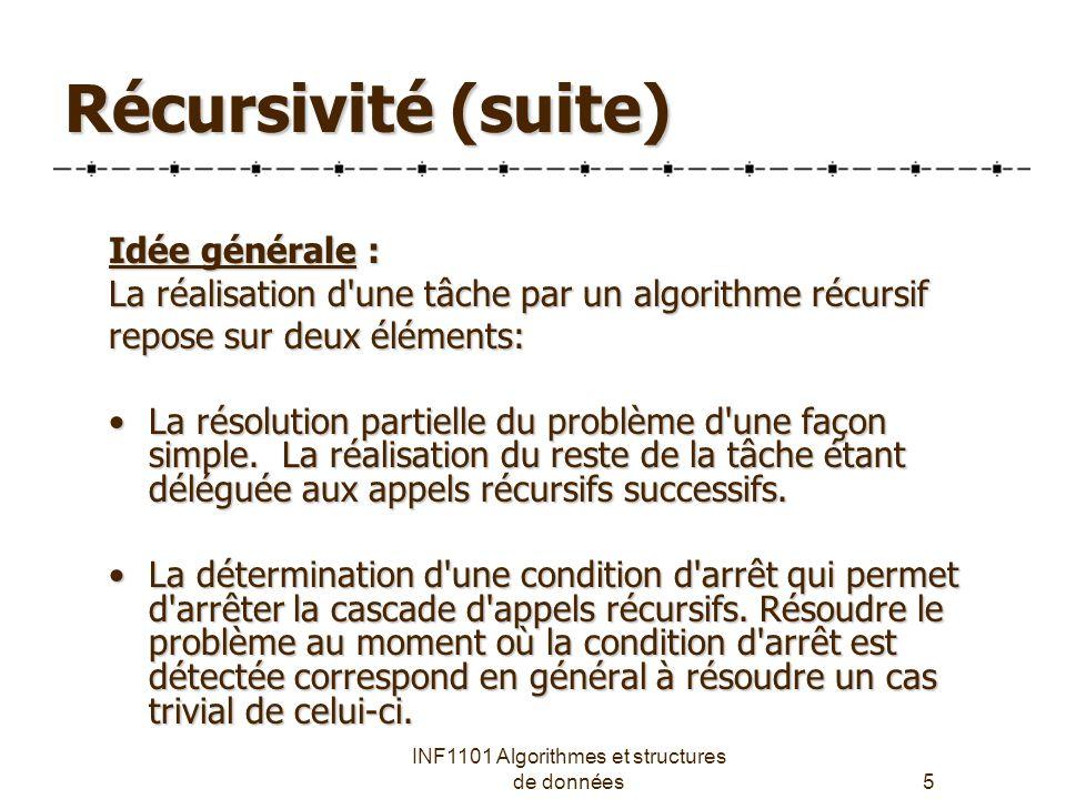 INF1101 Algorithmes et structures de données5 Récursivité (suite) Idée générale : La réalisation d une tâche par un algorithme récursif repose sur deux éléments: La résolution partielle du problème d une façon simple.