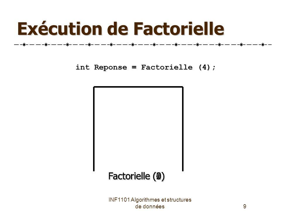 INF1101 Algorithmes et structures de données9 Exécution de Factorielle Factorielle (4) int Reponse = Factorielle (4); Factorielle (3) Factorielle (2) Factorielle (1) Factorielle (0)