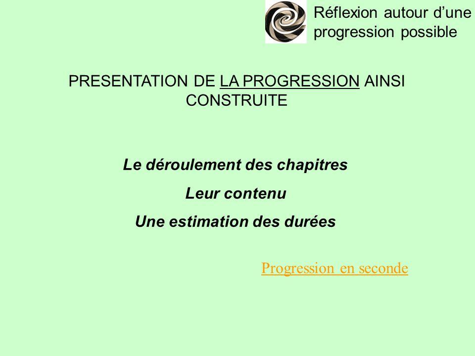 Réflexion autour d'une progression possible PRESENTATION DE LA PROGRESSION AINSI CONSTRUITE Le déroulement des chapitres Leur contenu Une estimation des durées Progression en seconde