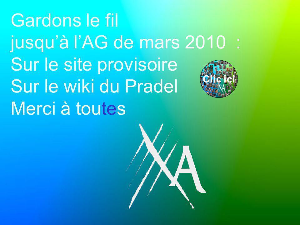 Gardons le fil jusqu'à l'AG de mars 2010 : Sur le site provisoire Sur le wiki du Pradel Merci à toutes Clic ici